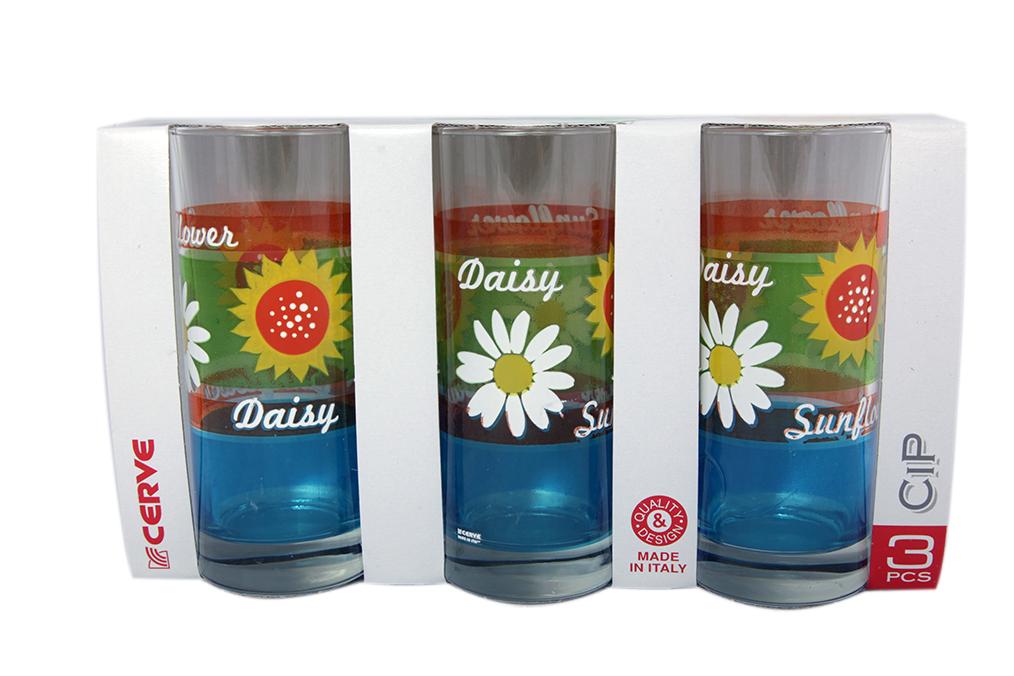Набор стаканов 3шт 365мл Цветы высокие - арт. m43640